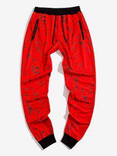 Zipper Pockets Marble Print Sports Pants - Red Xs