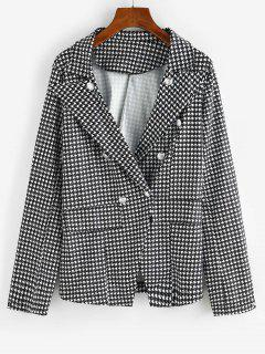 Houndstooth Double Breasted Flap Detail Blazer - Black L