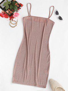 ZAFUL Shiny Mini Slinky Party Dress - Light Coffee S