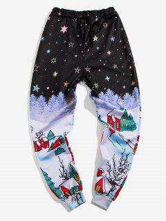 Starry Sky Village Print Sports Pants - Black S