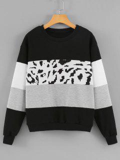 Rundhalsausschnitt Leopard Panel Farbblock Sweatshirt - Schwarz M
