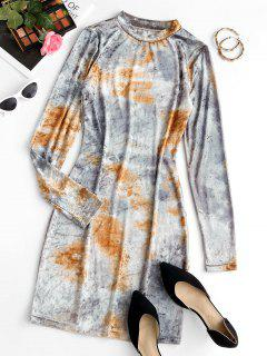 Tie Dye Velvet Mini Bodycon Dress - Light Gray L