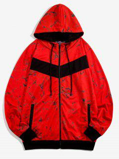 Hooded Marble Print Zip Up Jacket - Red M