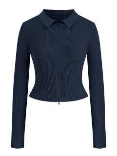 Reißverschluss Geripptes Übergröße T-Shirt - Tiefes Blau L