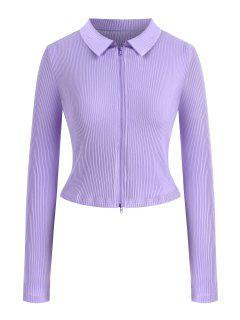 Camiseta Acanalada De Talla Grande De Color Sólido Con Cremallera - Luz Púrpura 4xl