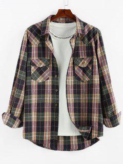 ZAFUL Plaid Printed Double Pockets Button Up Shirt - Viola Purple L