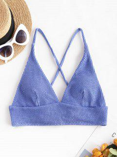 ZAFUL Haut De Bikini Texturé Croisé à Lacets - Bleu L