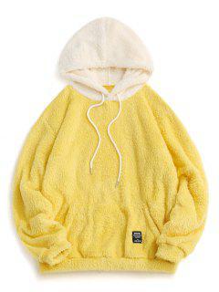Colorblock Splicing Drawstring Fluffy Hoodie - Yellow Xl