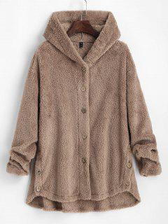 ZAFUL Fluffy Hooded Drop Shoulder Jacket - Light Coffee S