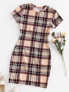 ZAFUL Plaid Mini Bodycon Dress - Apricot M