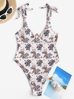 ZAFUL Animal Star High Cut Ribbed Monowire One-piece Swimsuit - Light Pink L