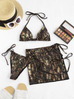 ZAFUL Halter Gilding Self-tie Three Piece Bikini Swimsuit - Golden L