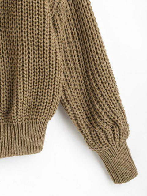 fashion Turtleneck Chunky Cable Knit Sweater - LIGHT COFFEE ONE SIZE Mobile