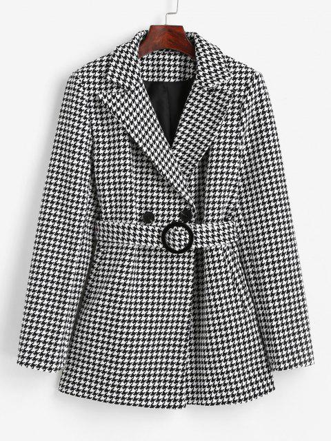 fancy Houndstooth Belted Pocket Tweed Blazer - BLACK S Mobile