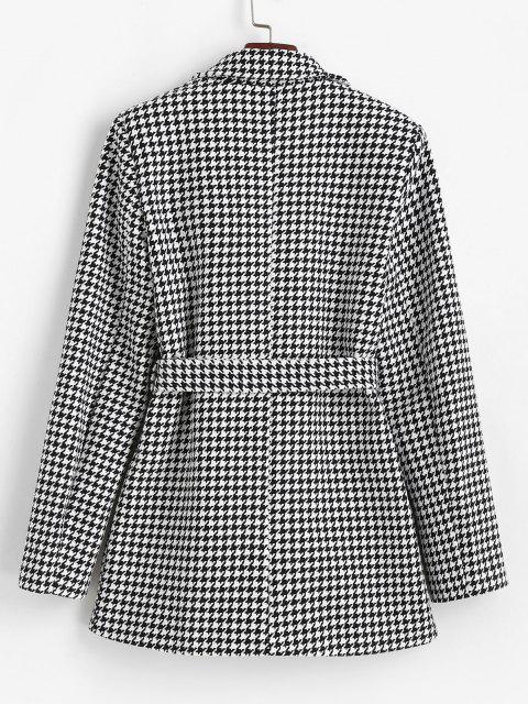 Hahnentritt Tweed Blazer mit Gürtel und Taschen - Schwarz S Mobile