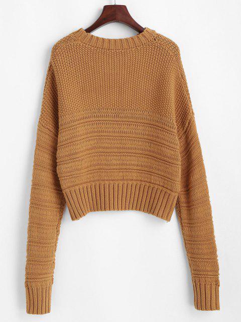 Klobiger Gemischte Knit Fallschulter Sweatshirt - Licht Kaffee Eine Größe Mobile