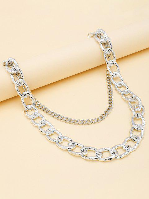 latest Double-deck Pierced Simple Trousers Chain - SILVER  Mobile