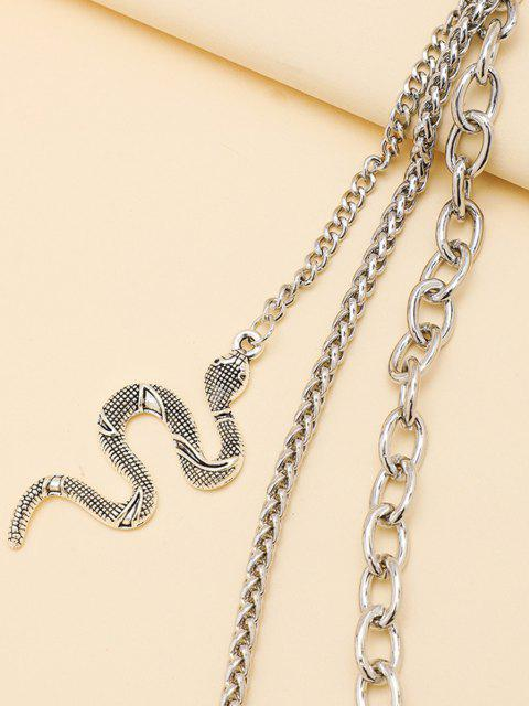 trendy Carved Snake Pendant Layered Trousers Chain - SILVER  Mobile
