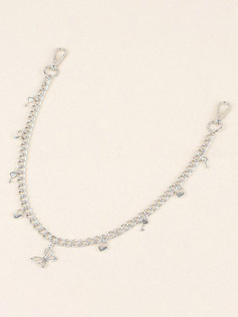 Hohle Schmetterling Schlüssel Anhänger Hosen Kette - Silber  Mobile