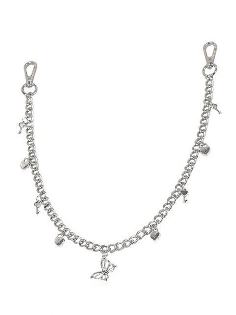 fashion Hollow Butterfly Key Pendant Trousers Chain - SILVER  Mobile