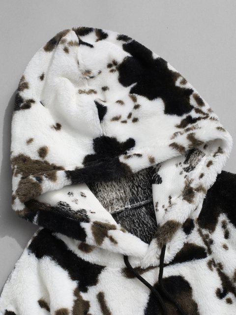 ZAFUL Tierdruck Kunstpelz Flauschige Hoodie - Weiß L Mobile