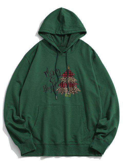 hot Christmas Tree Letters Printed Kangaroo Pocket Hoodie - DEEP GREEN L Mobile