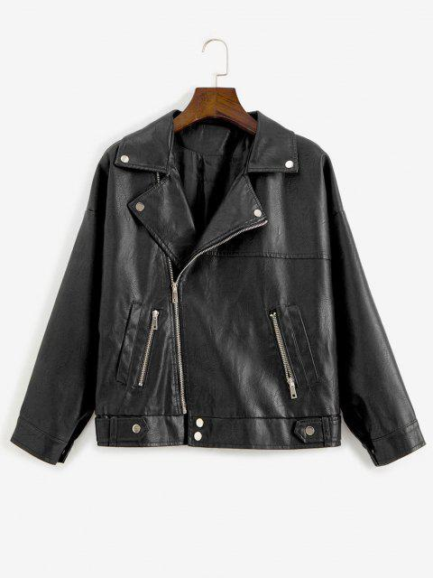 Zip Up Pockets Faux Leather Biker Jacket` - أسود L Mobile