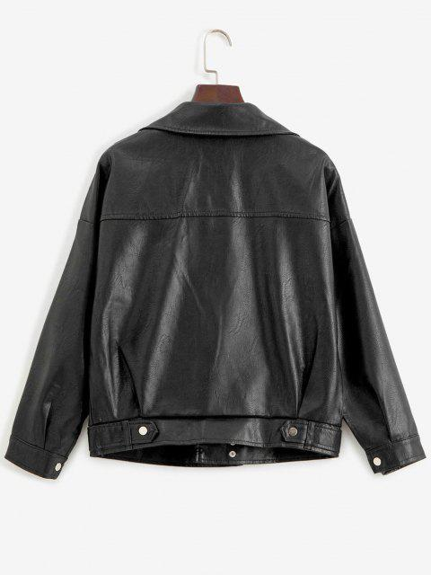 womens Zip Up Pockets Faux Leather Biker Jacket` - BLACK L Mobile
