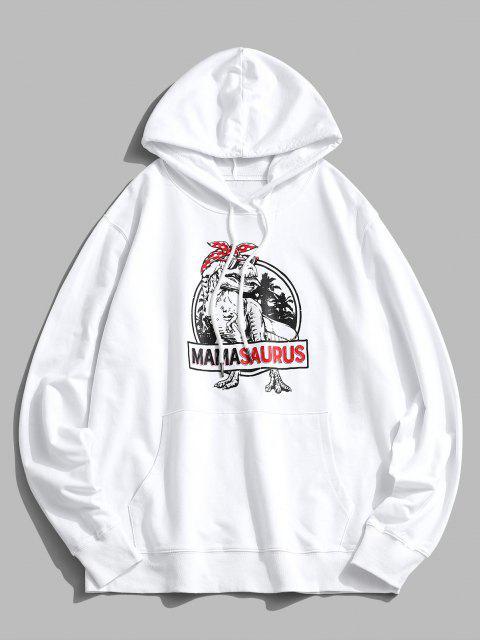 Weihnachten Dinosaurierdruck Känguru Taschen Hoodie - Weiß M Mobile