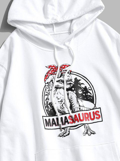 shop Christmas Dinosaur Print Kangaroo Pocket Hoodie - WHITE L Mobile