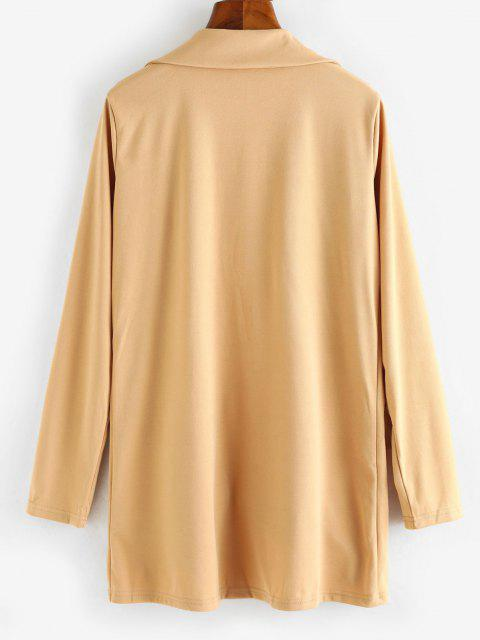 fashion Open Front Flap Detail Tunic Blazer - LIGHT COFFEE M Mobile
