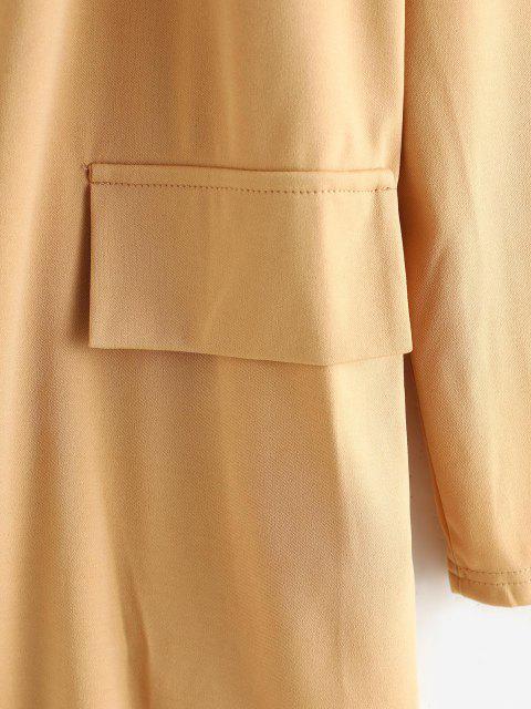 unique Open Front Flap Detail Tunic Blazer - LIGHT COFFEE L Mobile