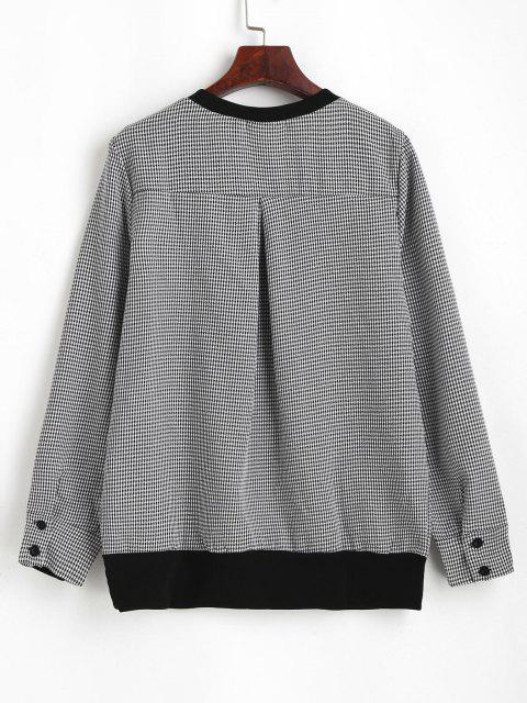 chic Gingham Sequined Cat Ribbed Sweatshirt - BLACK L Mobile