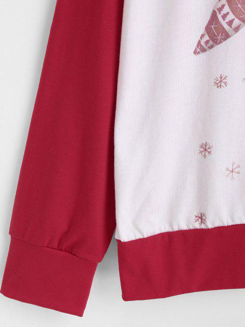 Sweat-shirt à Renne de Noël et Flocon de Neige à Manches Raglan - Rouge S Mobile