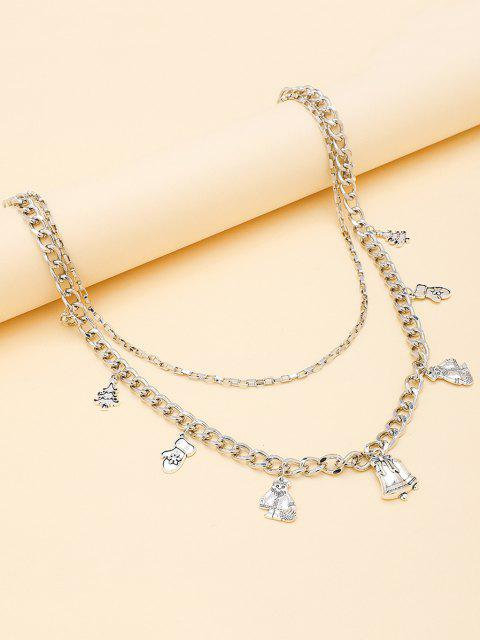 hot Christmas Tree Pendant Layers Trousers Chain - SILVER  Mobile