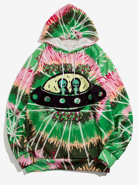 Casaco Encapuzado com Estampa de UFO - Verde de Primavera Média 2XL Mobile