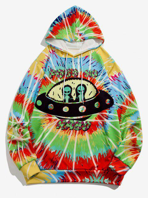 outfit ET UFO Spiral Tie Dye Print Hoodie - BLUE IVY XL Mobile