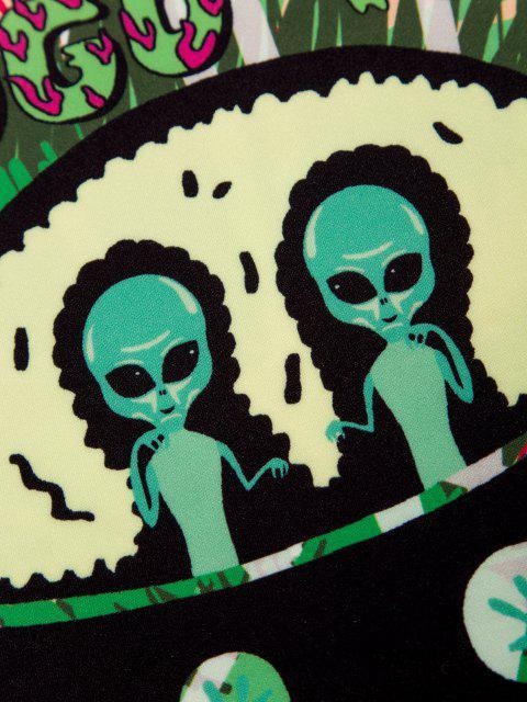 Sweat à Capuche UFO Géométrique Teinté Imprimé - Vert Pomme M Mobile