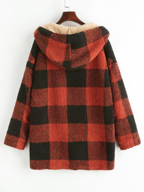shop Hooded Checked Fluffy Borg Teddy Reversible Coat - RED M Mobile