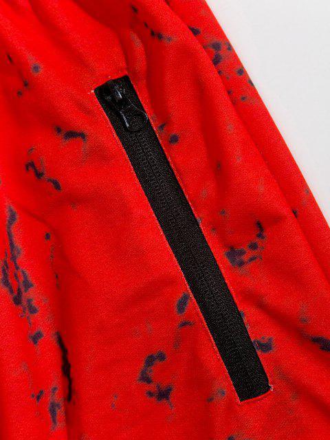 Pantalones Deportivos con Estampado de Mármol con Cremallera - Rojo S Mobile