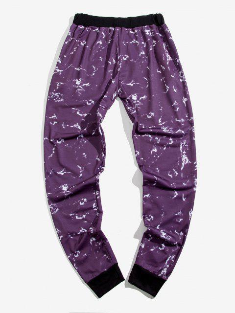 sale Zipper Pockets Marble Print Sports Pants - PURPLE S Mobile