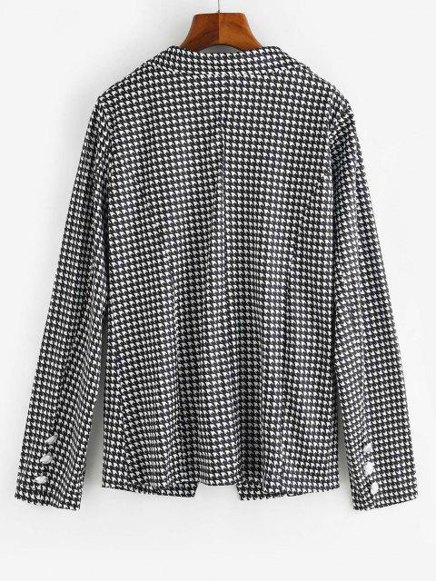 outfit Houndstooth Double Breasted Flap Detail Blazer - BLACK S Mobile