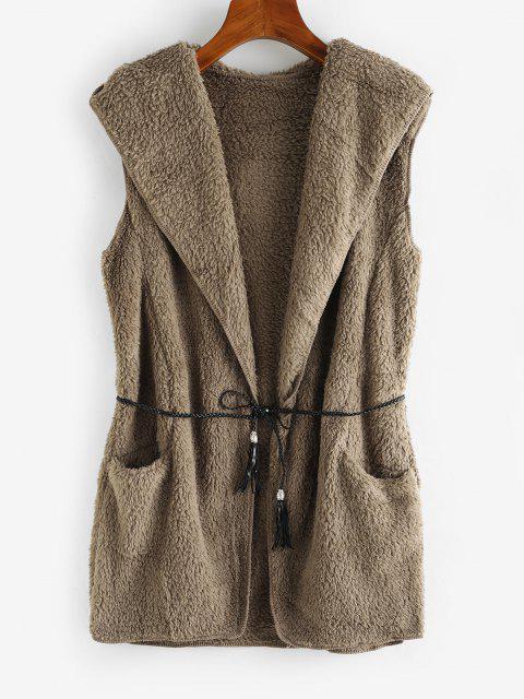 Offener Vorder Tasche Hoodie mit Kapuze - Grau Eine Größe Mobile