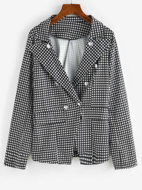 ladies Houndstooth Double Breasted Flap Detail Blazer - BLACK L Mobile