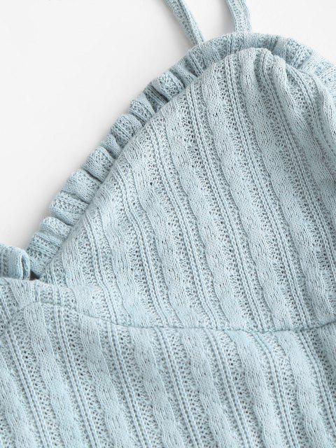 Robe Fourreau Découpée en Tricot à Câble à Volants - Bleu Bébé L Mobile