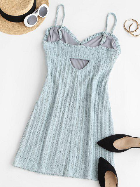 new Cable Knit Cutout Frilled Sheath Bustier Dress - BABY BLUE S Mobile
