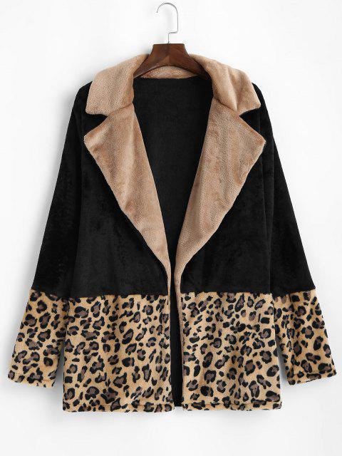 womens Plus Size Fluffy Leopard Panel Open Front Coat - BLACK 2XL Mobile