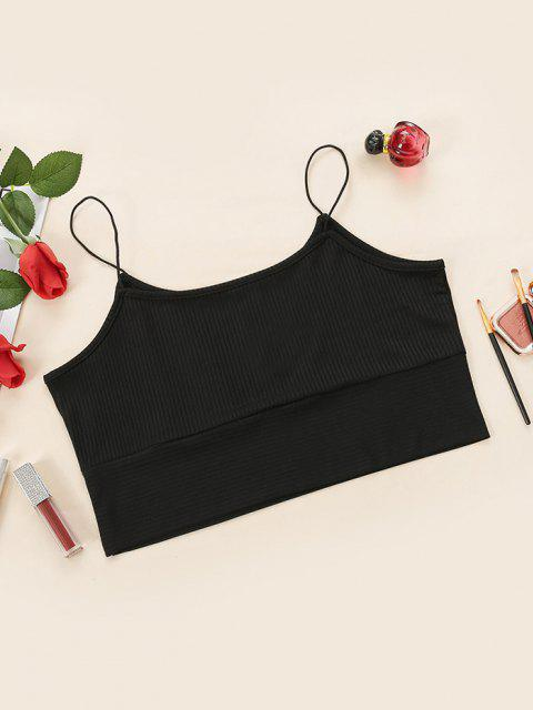 outfits Plus Size Ribbed Bungee Strap Cropped Camisole - BLACK 1XL Mobile