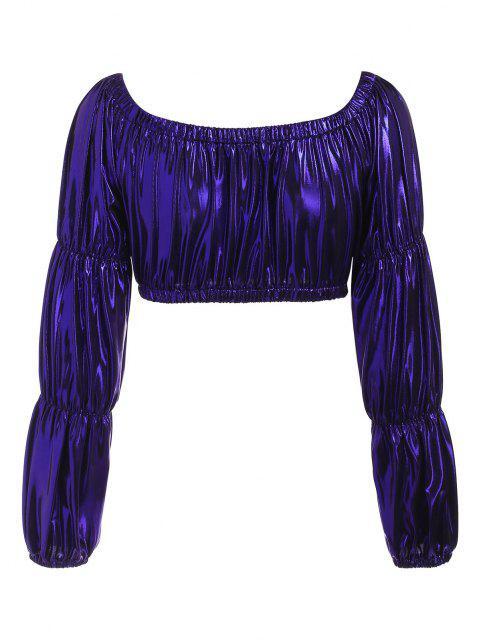 women Metallic Off Shoulder Marie Sleeve Top - DEEP BLUE S Mobile