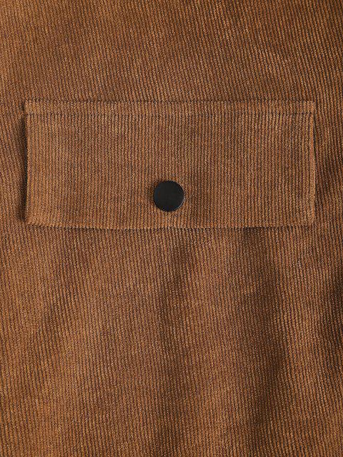 latest ZAFUL Corduroy Snap Button Flap Detail Skirt - COFFEE L Mobile